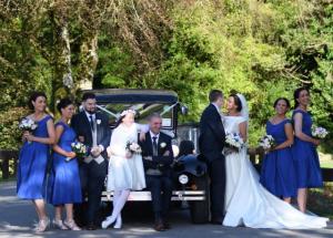 Bridal party Vintage wedding car